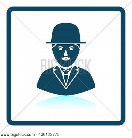 Detective Icon. Square Shadow Reflection Design. Vector Illustration.