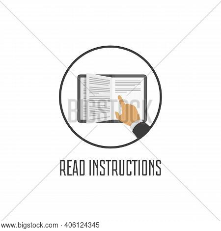 Read Instructions Icon In Flat Style. Instructions Sign Isolated On White Background. Manual Book Sy