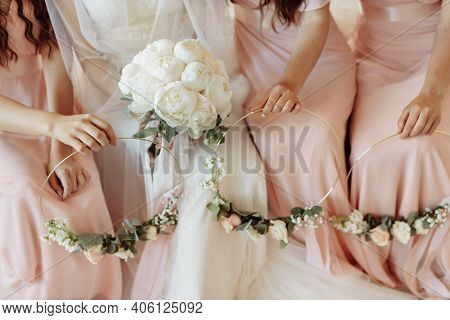 Wedding Details. The Bride's Bouquet. Peonies.wedding Gatherings Of The Bride.wedding Rings With Pre