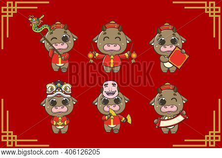 Designs For The Needs Of The Chinese New Year, The Year Of The Ox, With The Design Of The Cow Charac