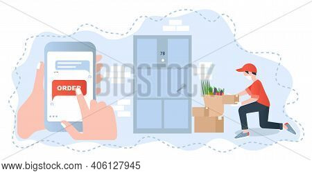 Illustration With Contactless Delivery Concept For Web Design. Quarantine, Isolation. Safe And Prote