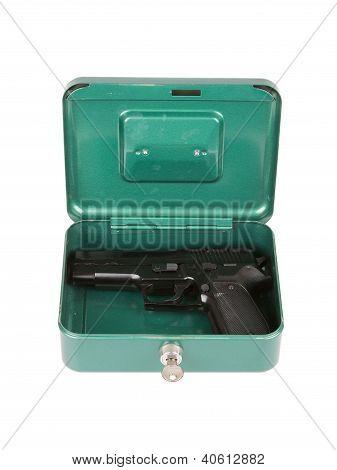 9Mm Pistol In A Metal Case