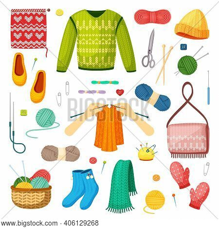 Knits And Knitting Set. Handicrafts Green Sweater With Red Mittens Woolen Threads Knitting Needles W