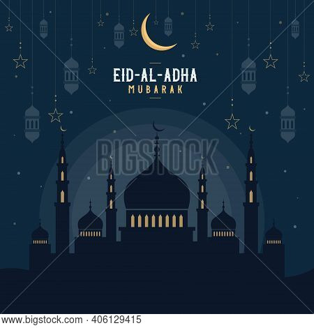 Abstract Religious Happy Eid Al Adha Mubarak Islamic Vector Illustration With Mosques, Lights, Moon,