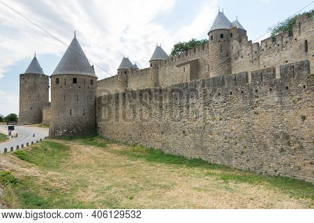 Carcassonne,france-august 15,2016:the Famous Walls Of The Fortified Medieval City Of Carcassonne Dur