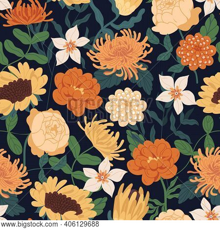 Seamless Floral Pattern With Fall Flowers. Endless Design With Gorgeous Sunflowers, Peony Roses, Cle