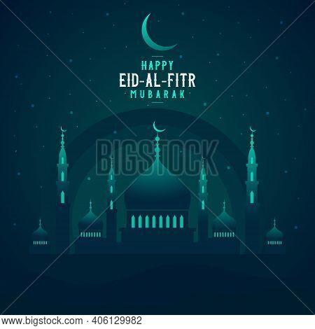 Abstract Religious Happy Eid Al Fitr Mubarak Islamic Vector Illustration With Mosque, Moon And Star.