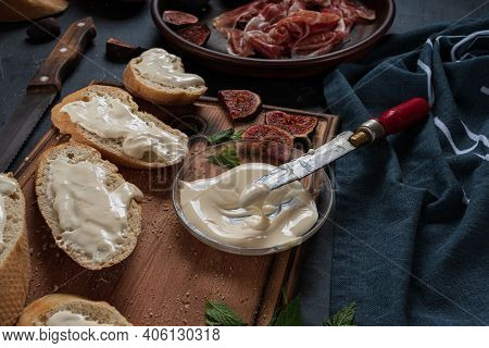 Tapas With Ham And Cream Cheese. Close Up