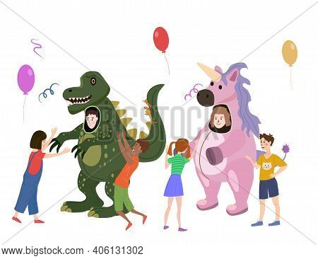 Holiday Party Actors Entertainer Wearing In Costume Dinosaur And Unicorn, Play With Kids. Performanc