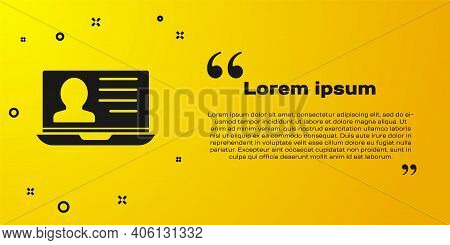 Black Laptop With Resume Icon Isolated On Yellow Background. Cv Application. Searching Professional