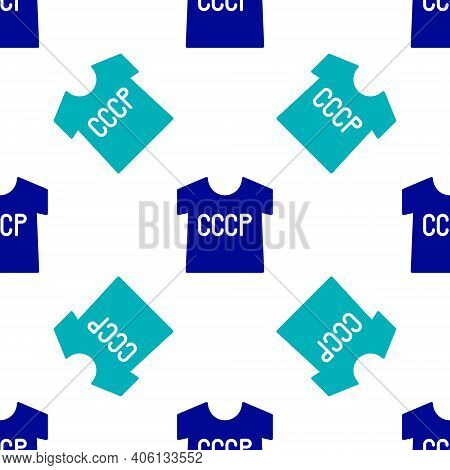 Blue Ussr T-shirt Icon Isolated Seamless Pattern On White Background. Vector