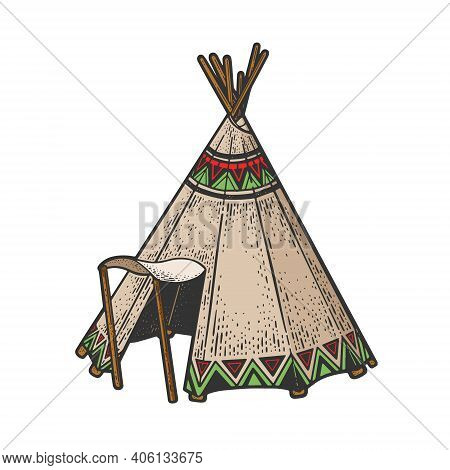 Wigwam Native American Tribes Hut House Color Sketch Engraving Vector Illustration. T-shirt Apparel