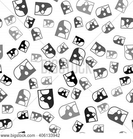 Black Mexican Wrestler Icon Isolated Seamless Pattern On White Background. Vector