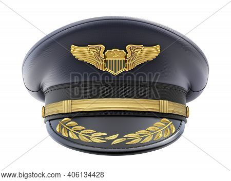Front View Of Civil Pilot Hat With The Badge Isolated On White Background - 3d Illustration