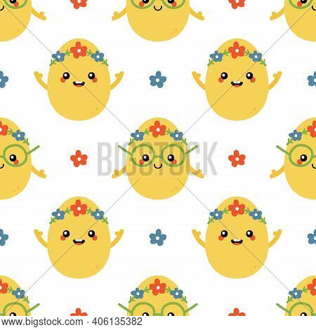 Beautiful Cartoon Style Easter Egg Characters With Flowers Vector Seamless Pattern Background For Sp