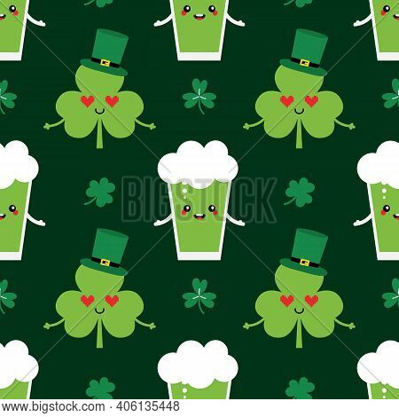 St. Patrick's Day Vector Seamless Pattern Background With Cute Cartoon Style Characters Shamrock In