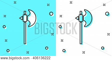 Black Line Medieval Axe Icon Isolated On Green And White Background. Battle Axe, Executioner Axe. Me