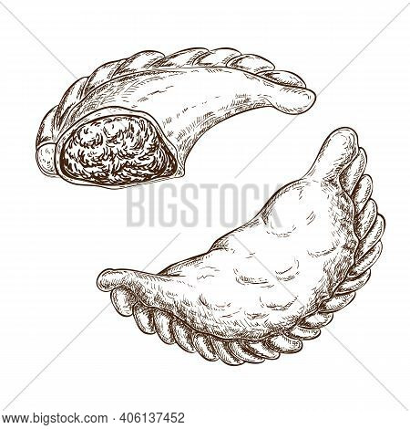 Fried Traditional Pastry Stuffed With Meat, Cheese, Vegetables Isolated On White. Savoury Pastries W