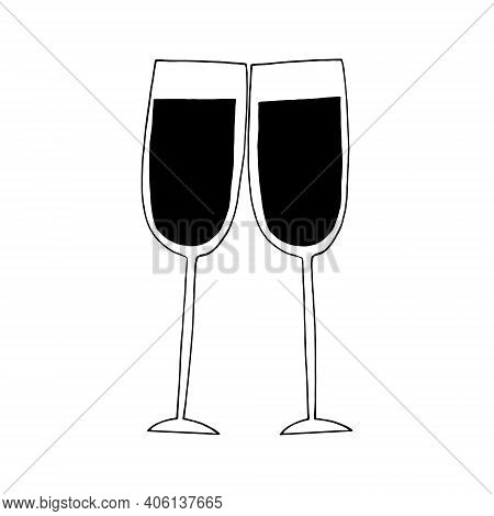 Pair Of Glasses Of Wine Icon, Sticker. Sketch Hand Drawn Doodle Style. Minimalism, Monochrome. Chin-