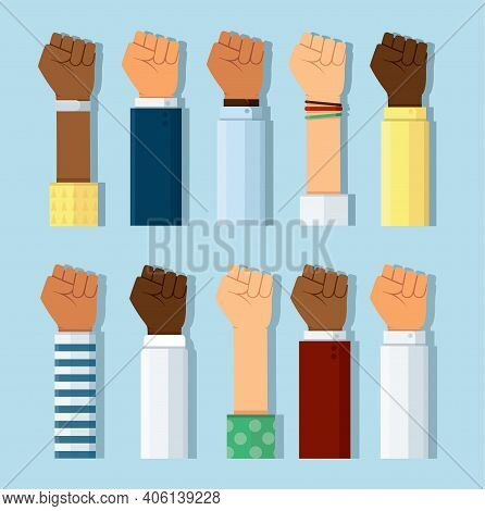 Set Of Different Skin Colors Fist Hands Rise Up. Empowering, Labor Day, Humans Right, Fight Concept