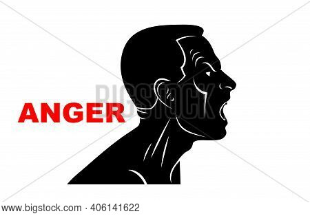 Abuse Verbal Aggression And Anger Man Face Profile Screaming And Shouting Vector Illustration Isolat