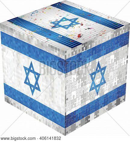 Israel Cube - Illustration,  Abstract Grunge Mosaic Flag Of Israel