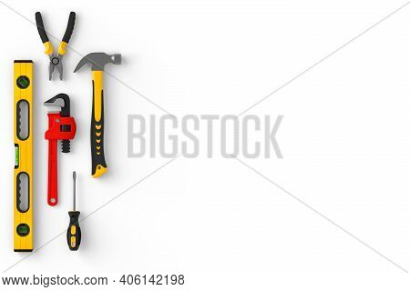 Set Of Construction Tools For Repair And Installation On White Background. 3d Rendering And Illustra