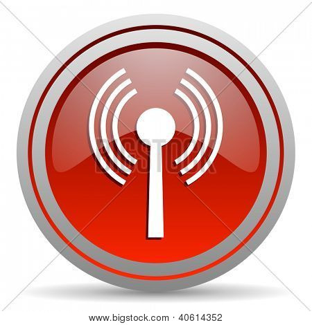 wifi red glossy icon on white background