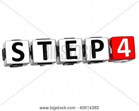 3D Step Button Click Here Block Text