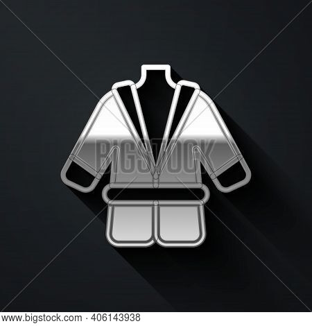 Silver Bathrobe Icon Isolated On Black Background. Long Shadow Style. Vector