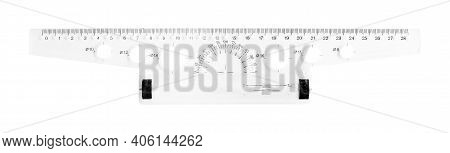 Science And Education - Plastic School T Square Ruler Roller Isolated On A White Background.