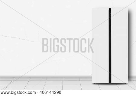Major Appliance - Two-door Side By Side Refrigerator In Front On A White Wall Background