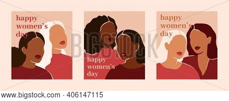 Happy Women's Day Vertical Cards With Women Of Different Ethnicities And Cultures. Strong And Brave