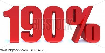 190 Percent Off 3d Sign On White Background, Special Offer 190% Discount Tag, Sale Up To 190 Percent