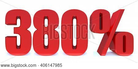 380 Percent Off 3d Sign On White Background, Special Offer 380% Discount Tag, Sale Up To 380 Percent