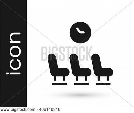 Black Waiting Room Icon Isolated On White Background. Vector