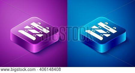 Isometric End Of Railway Tracks Icon Isolated On Blue And Purple Background. Stop Sign. Railroad Buf