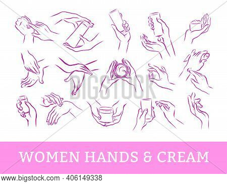 Collection Of Human Hands With Hand Cream And Moisturizer Tube In Different Gestures And Posses Isol