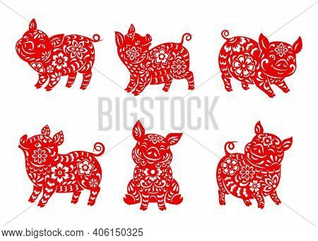 Chinese Zodiac Pig Animal Vector Icons Set. Boar Lunar New Year Of China Symbolic, Red Ornate Astrol