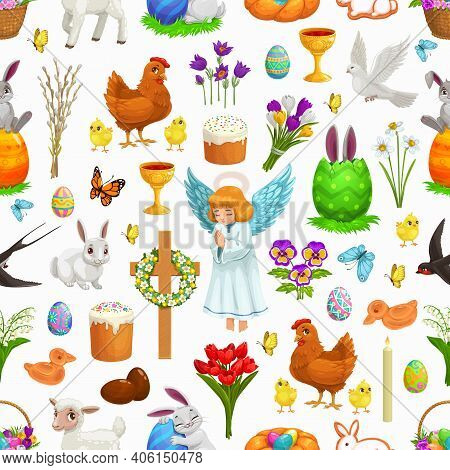 Easter Seamless Pattern Of Religion Holiday Vector Background. Easter Eggs, Bunnies Or Rabbits, Chic
