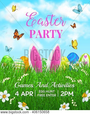 Easter Holiday Vector Flyer With Cute Cartoon Rabbit Ears In Green Grass Blades With Decorated Eggs,