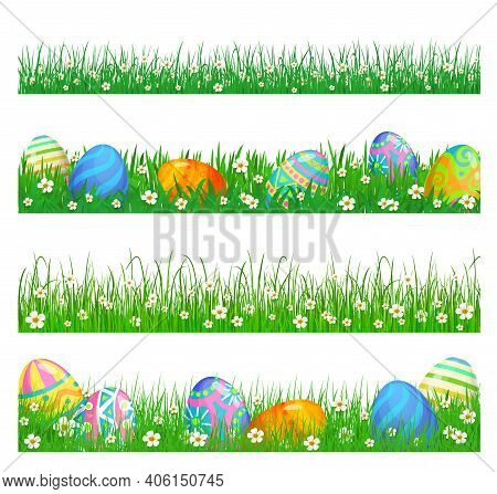 Easter Eggs And Green Grass Vector Borders Of Easter Egg Hunt Religion Holiday Design. Spring Grass