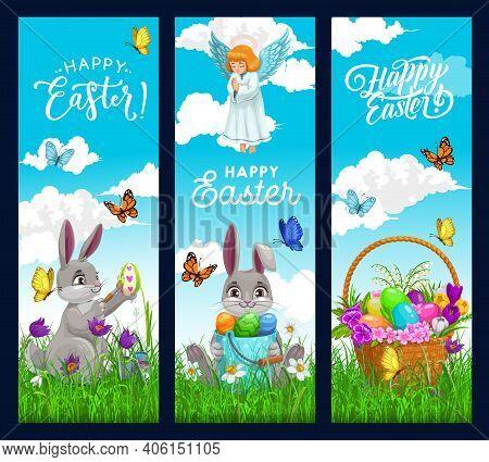 Easter Egg Hunt Bunny Banners Of Vector Rabbits, Egg Hunt Basket And Praying Angel With Spring Flowe
