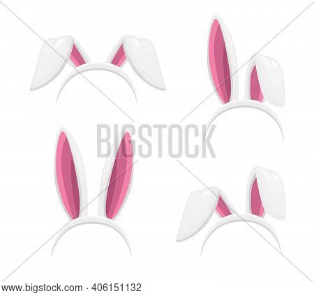 Easter Bunny Or Rabbit Ears Headband Isolated Vector Objects Set. Easter Holiday Costume Cartoon Des