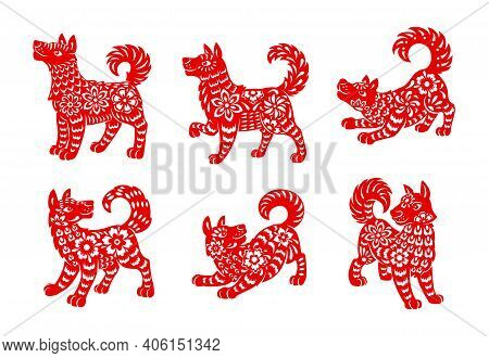 Chinese Zodiac Dog Animal Vector Icons Set. Canine Lunar New Year Of China Symbolic, Red Ornate , As