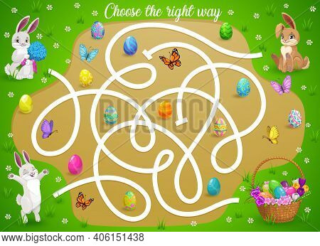 Kids Maze Game Help Easter Bunnies Choose Right Way To Get Eggs Basket. Vector Labyrinth Puzzle, Fin