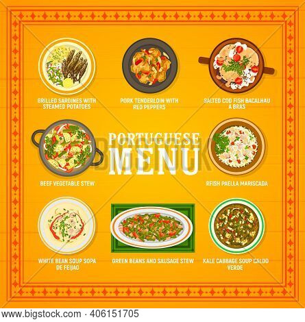 Portuguese Food Restaurant Menu Template. Paella Mariscada, Kale Cabbage And White Beans Soup, Grill