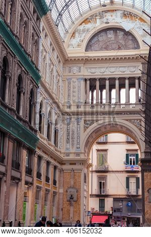 Naples, Italy - June 27, 2014: View Of The Galleria Umberto I, A Public Shopping Gallery In Naples,