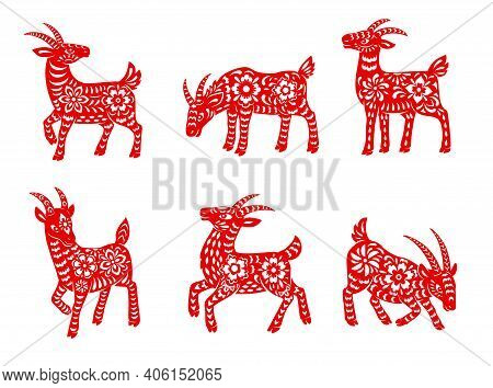 Chinese Zodiac Goat Animal Vector Icons Set. Lunar New Year Of China Symbolic, Red Ornate Horned Nan