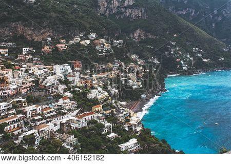 View Of The Small Town Of Positano, Amalfi Coast, Campania, Italy